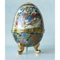 Coffret - oeuf porcelaine 12 cm, boite à bijou, bonbonnière, motif asiatique