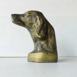 Statuette presse papier tête de chien de chasse bronze