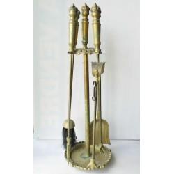 Serviteur cheminée ancien 4 pièces, bronze? 63cm