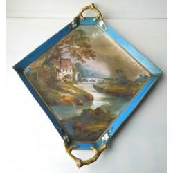Plat ancien forme losange, avec peinture signée 1882