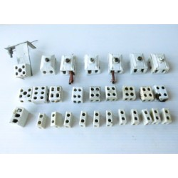 Dominos en porcelaine, matériel électrique ancien