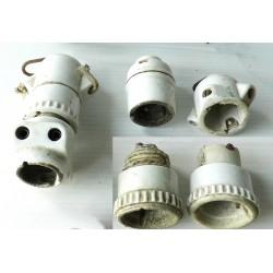 Douilles à suspendre en porcelaine-mat. électrique ancien