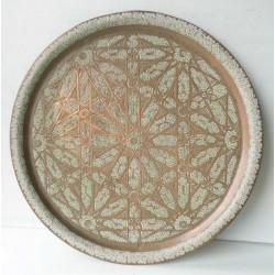Art marocain-plateau en cuivre rouge