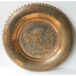 Plateau en cuivre rouge ciselé lion couronne