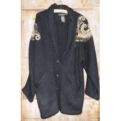 Veste ancienne en laine paillettes dorures