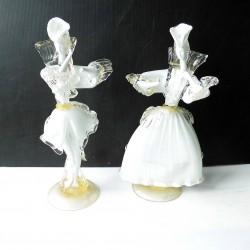 Personnages couple de vénitiens Murano, blanc et pailletés or, 40cm