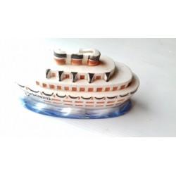 Tirelire à casser-Paquebot NORMANDIE en céramique