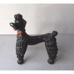 Caniche royal noir, statuette en plâtre, vintage 20cmx17cm