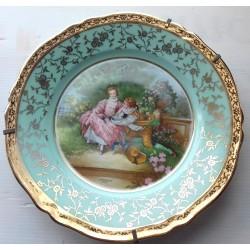 Assiette décorative porcelaine de Limoges vert et or