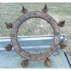 Lustre ancien en fer, médiéval, 8 branches Hors tout 115cm