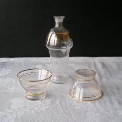 Carafe  et 2 coupes anciennes, filet or, années 40-50