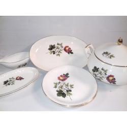 Service de table ancien, motifs roses, DIGOIN, 31 pièces
