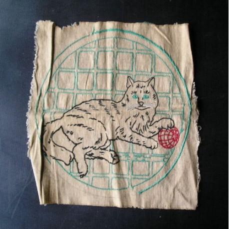 Tissu brodé -chat- pour sac ou coussin