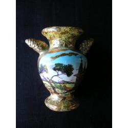 """Vase en céramique dorée signé M.Rieu """"Marseillan plage"""""""