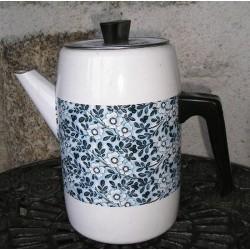 Cafetière métallique, fleurs bleues, vintage