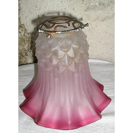 Ancien luminaire, tulipe-cloche ancienne rose avec griffe