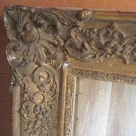 Miroir ancien bois et platre dor broc23 for Miroir dore ancien
