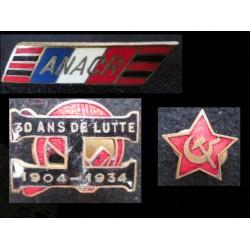 3 Insignes anciens Pin's PC, ANACR, 1904-1934