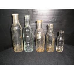Lot de 5 fioles anciennes à pharmacie, 1900