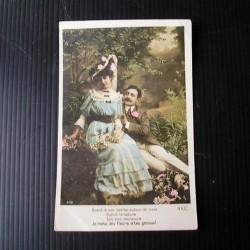 Carte postale ancienne , couple 1908