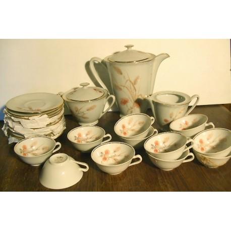 """Ancien service à café """"épi"""" Porcelaine CN"""