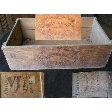Caisse en bois ancienne Amidon, belles gravures
