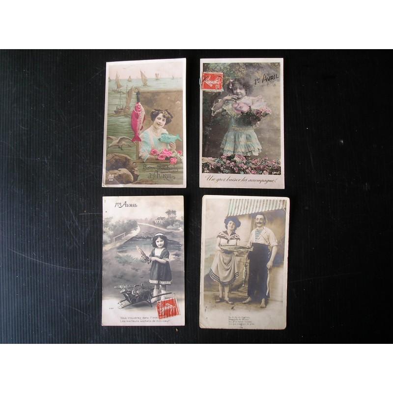 Lot de 4 cartes postales anciennes 1er avril, 1900 - Broc23