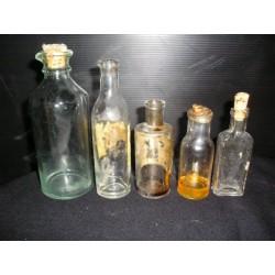 Lot de 5 Fioles de pharmacie années 1900-1930