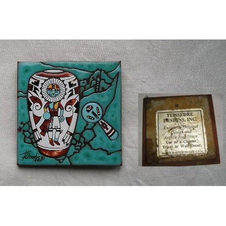 Carreau peint par Cleo Teissedre 1990, designer USA , motif indien