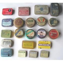 LOT de 21 boites en fer anciennes,de pastilles, pharmacie