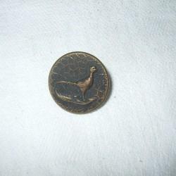 Bouton ancien métallique motif faisan