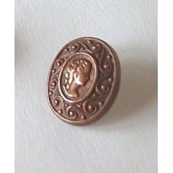 Bouton ancien métallique ovale,tête de femme