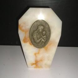 Vierge et enfant sur socle en marbre