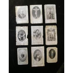 Lot de 9 canivets, images religieuses, début XXè