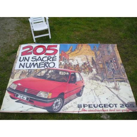 Affiche poster plastifié 205 peugeot 3.10x2.25m